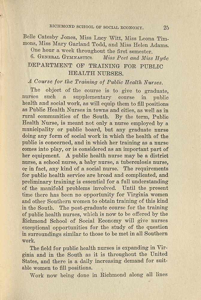 VCU_Richmond SSE First Annual Announcement 1917-18 pub health nurse p25 rsz.jpg