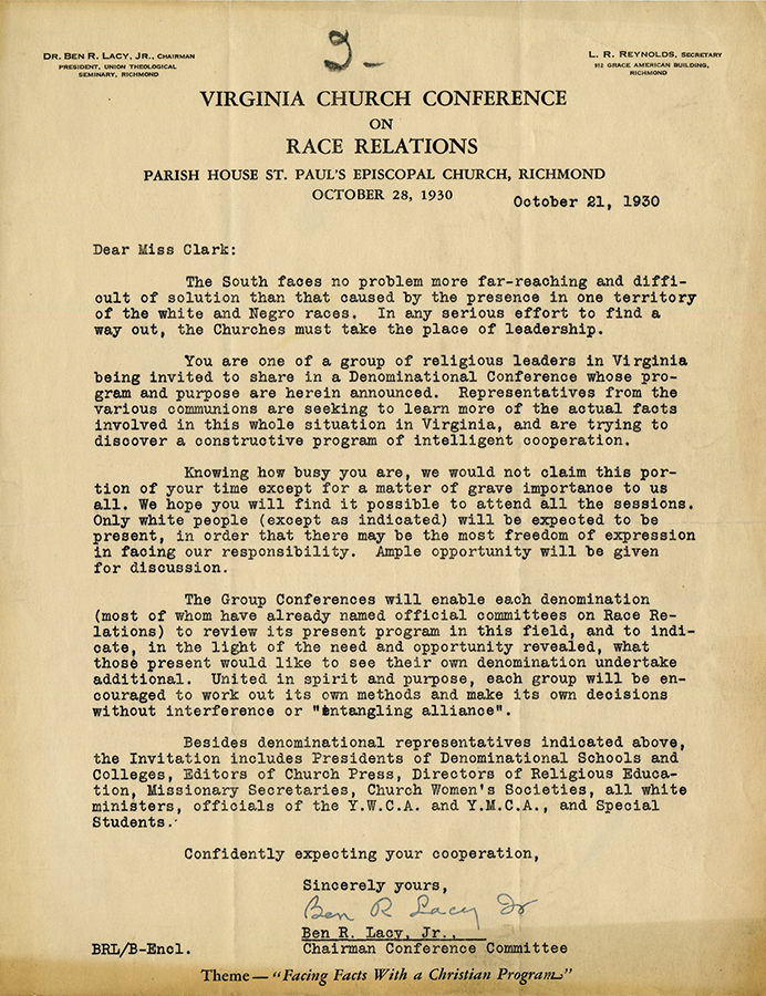 VCU_M 9 Box 34 Va church conference race relations letter Lacy to Clark rsz.jpg