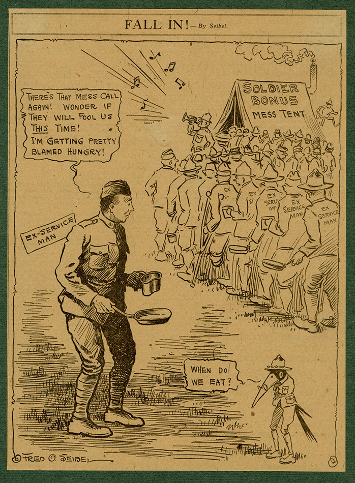 VCU_M 23 Box 3 Cartoon no 1312 Fall In_Bonus Mess Tent veterans.jpg