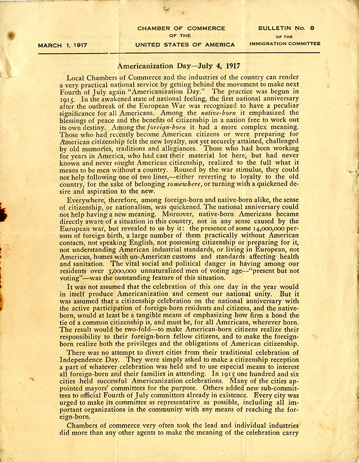 M 9 B 48_Bulletin No 8_Immigration Committee_Chamber of Commerce USA_3_1_1917 rsz.jpg