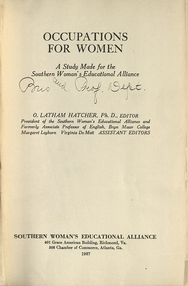 VCU_HD 6058_H37 1927 Occupations for Women Hatcher title page rsz.jpg