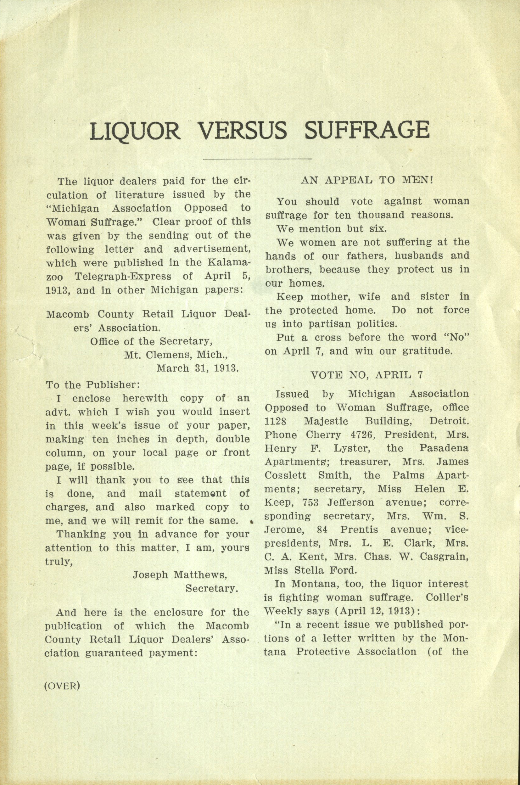 M9 B49 NAWSA Handbills and flyers_Liquor vs suffrage p1 crop.jpg