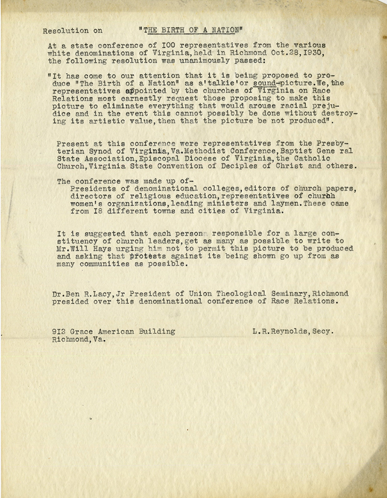 VCU_M 9 Box 35 Conf on Race Relations 1930 Birth of a nation resolution rsz.jpg