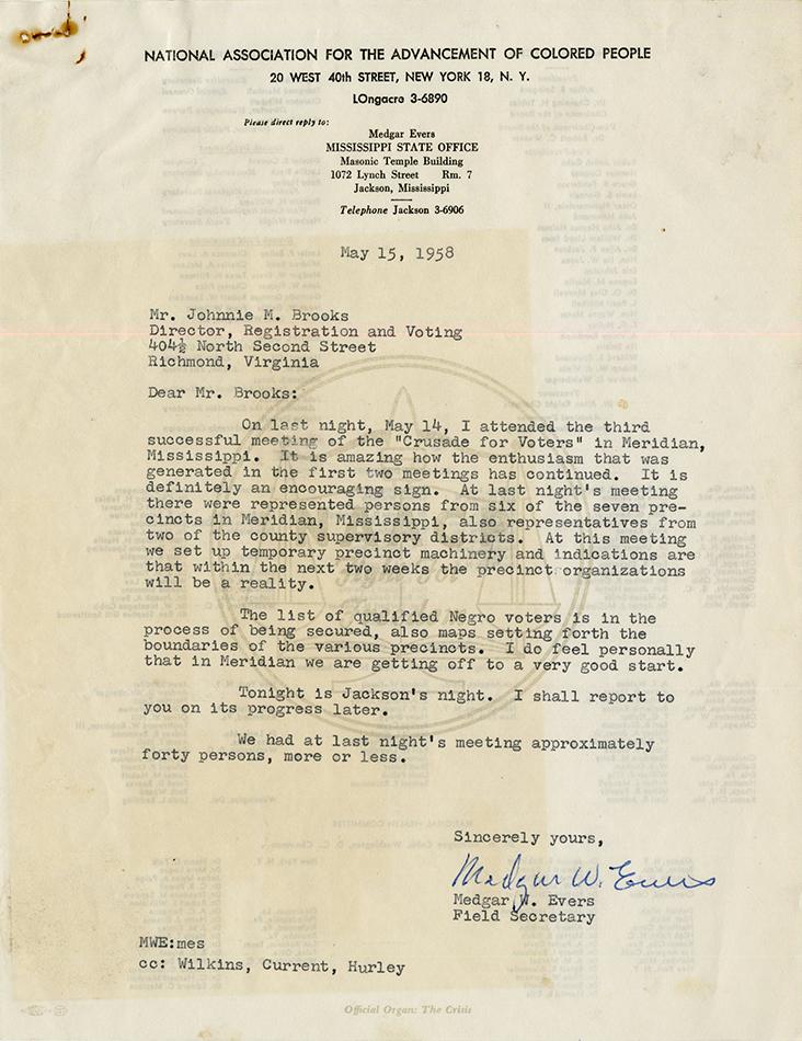 VCU_M296 Box 2 FMississippi_ Medgar Evers letter to JBrooks May 15 1958 rsz.jpg