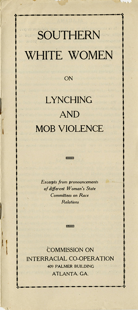 VCU_M 9 Box 100 Interracial Cooperation Commission_Lynching and Mob Violence_cover rsz.jpg