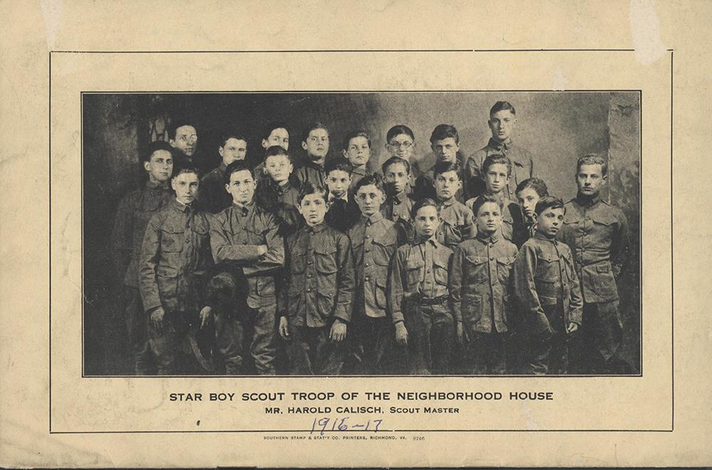 Beth Ahabah_Neighborhood House Annual Report 1916-1917 p12 Boy Scout Troop rsz.jpg