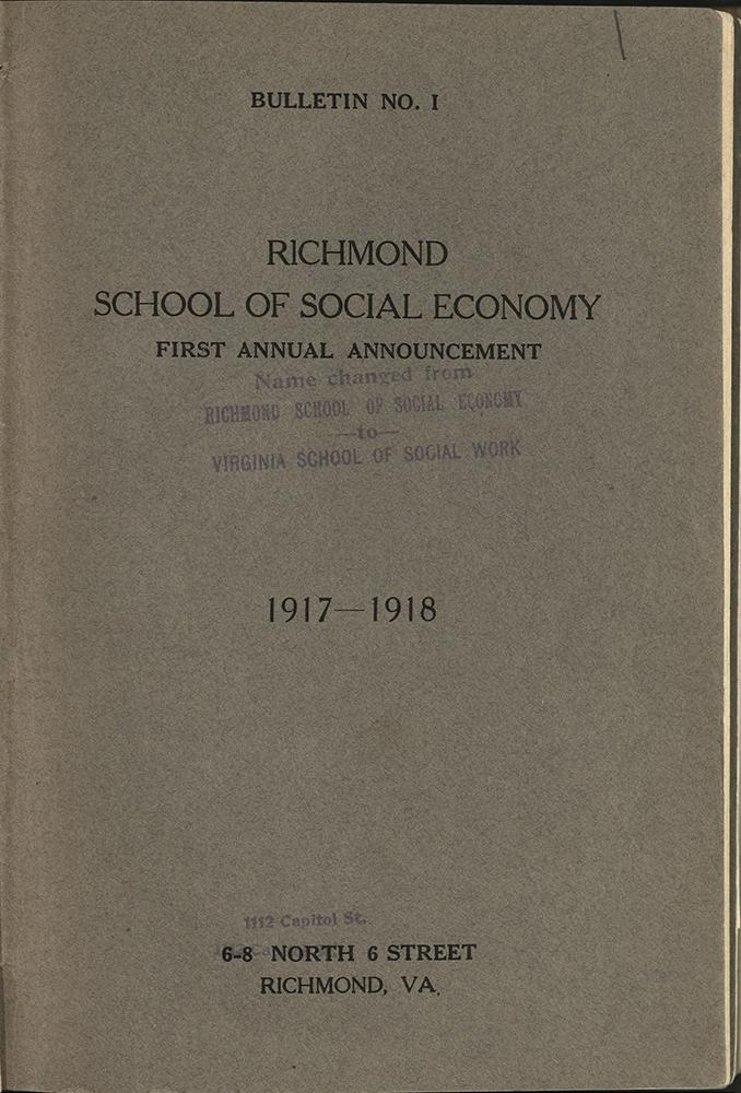 VCU_Richmond SSE First Annual Announcement 1917-18 Cover rsz.jpg