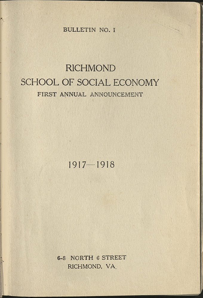 VCU_Richmond SSE First Annual Announcement 1917-18 title page rsz.jpg
