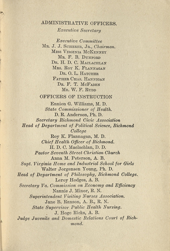 VCU_Richmond SSE First Annual Announcement 1917-18 Administrative Officers p5 rsz.jpg