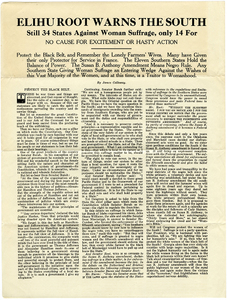 Elihu Root Warns the South [anti-suffrage broadside]