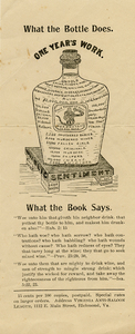 What the Bottle Does. One Year's Work [Virginia Anti-Saloon League handbill]