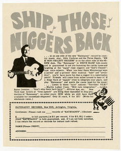 Hatenanny Records Advertisement [American Nazi Party handbill]