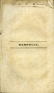 Memorial: To the Legislature of Massachusetts