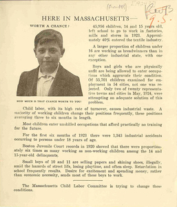 Here in Massachusetts [Massachusetts Child Labor Committee pamphlet]
