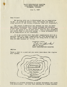 Letter from John M. Brooks, NAACP Registration Director to voter registration activists, Mississippi, July 7, 1958