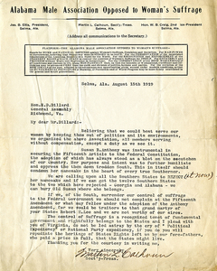 Letter to H. D. Dillard from Martin L. Calhoun, Alabama Male Association Opposed to Woman's Suffrage [typed letter, signed]
