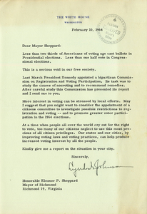 Letter to Eleanor P. Sheppard from Lyndon B. Johnson, February 10, 1964