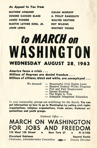 March on Washington for Jobs and Freedom [publicity flyer]