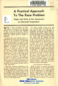 A Practical Approach to the Race Problem. Origin and Work of the Commission on Interracial Cooperation.