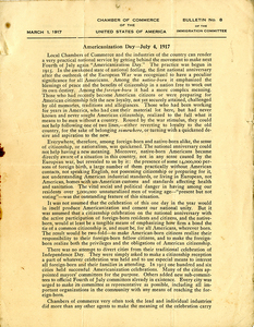 Americanization Day -- July 4, 1917. Bulletin No. 8 of the Immigration Committee