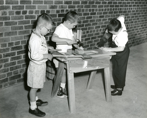 Boys using carpentry tools, Josephine Newbury Demonstration Kindergarten, Richmond, Va.