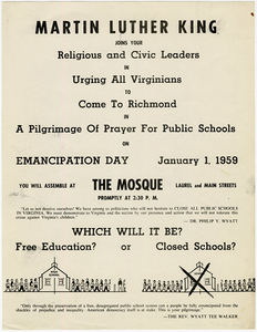 Pilgrimage of Prayer for Public Schools, January 1, 1959  [broadside]