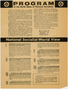 Program of the World Union of National Socialists [American Nazi Party handbill]