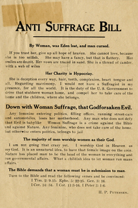 Anti Suffrage Bill. By Woman, was Eden lost, and man cursed [anti-suffrage handbill]