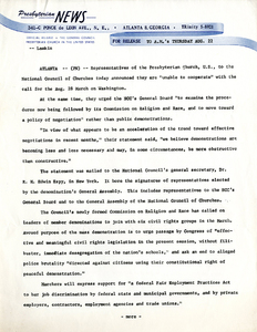 Presbyterian Church in the United States (PCUS) press release, August 22, 1963