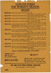 Votes for Women! The Woman's Reason. Because [suffrage handbill]