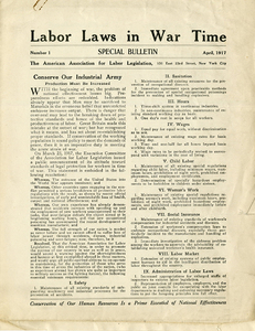 M 9 Box 98 Labor Laws in War Time_AALL Special Bulletin_p1 rsz.jpg