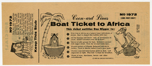 Boat Ticket to Africa [American Nazi Party promotional material]