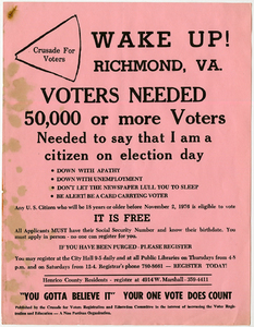 Wake Up! Richmond, Va. Crusade for Voters [handbill]