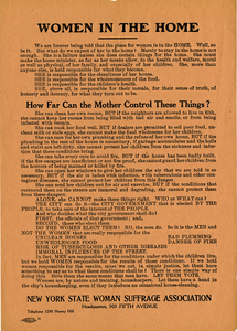 Women in the Home [suffrage handbill]