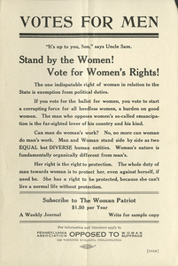 Votes for Men. [anti-suffrage handbill]