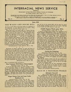 Interracial News Service, vol. 9, no. 4, June 1938