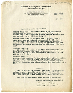National Kindergarten Association Letter, 1922