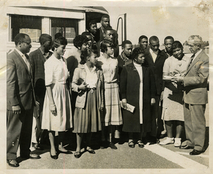 High school seniors embark by bus to voter registration, Atlanta, Ga., 1959