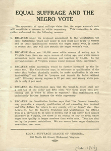 Equal Suffrage and the Negro Vote [broadside]