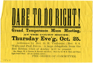 Dare to Do Right! Temperance mass meeting handbill