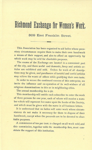 VMHC_Mss1 M3855 c 4024 pamphlet Richmond Exchange for Woman's Work p1 rsz.jpg