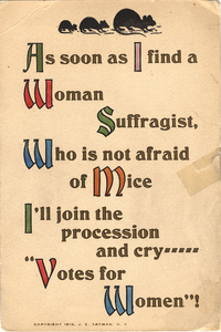 As soon as I find a Woman Suffragist, Who is not afraid of Mice... [anti-suffrage postcard]