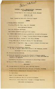 "Virginia (white) Denominational Conference on Race Relations, October 28, 1930. Program and Resolution on ""The Birth of a Nation."""
