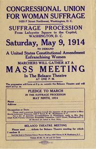 Congressional Union for Woman Suffrage, Suffrage Procession, Saturday, May 9, 1914 [handbill]