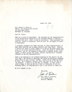 Letter from Rev. John Kirstein to Aubrey Brown, Jr. , August 22, 1963