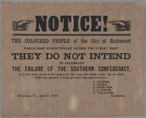 Notice! The Coloured People of the City of Richmond… [broadside]