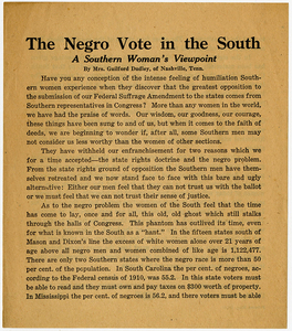 The Negro Vote in the South. A Southern Woman's Viewpoint [suffrage flyer]