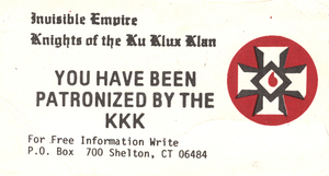 Invisible Empire, Knights of the Ku Klux Klan [calling card]