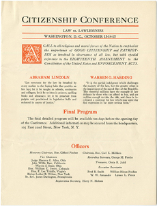 Citizenship Conference, Washington, D.C., October 13 - 15, 1923, promotional material