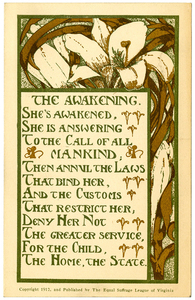 The Awakening [suffrage postcard]